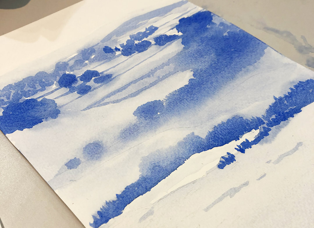 Process picture of Original Watercolor by Ashley Stuart