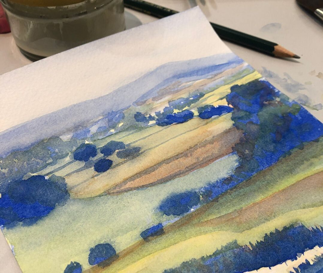 Original watercolor painting of an English landscape by Ashley Stuart